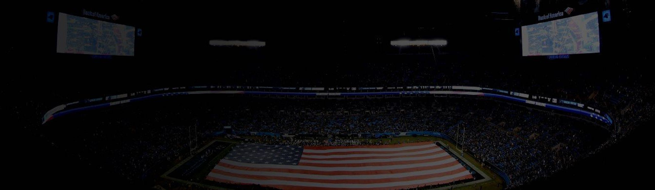 A halftime flag display at Bank of America Stadium