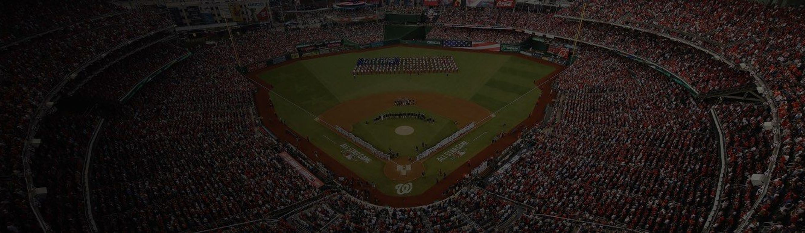 Bird's eye view of Washington National's baseball game during pre-game flag display