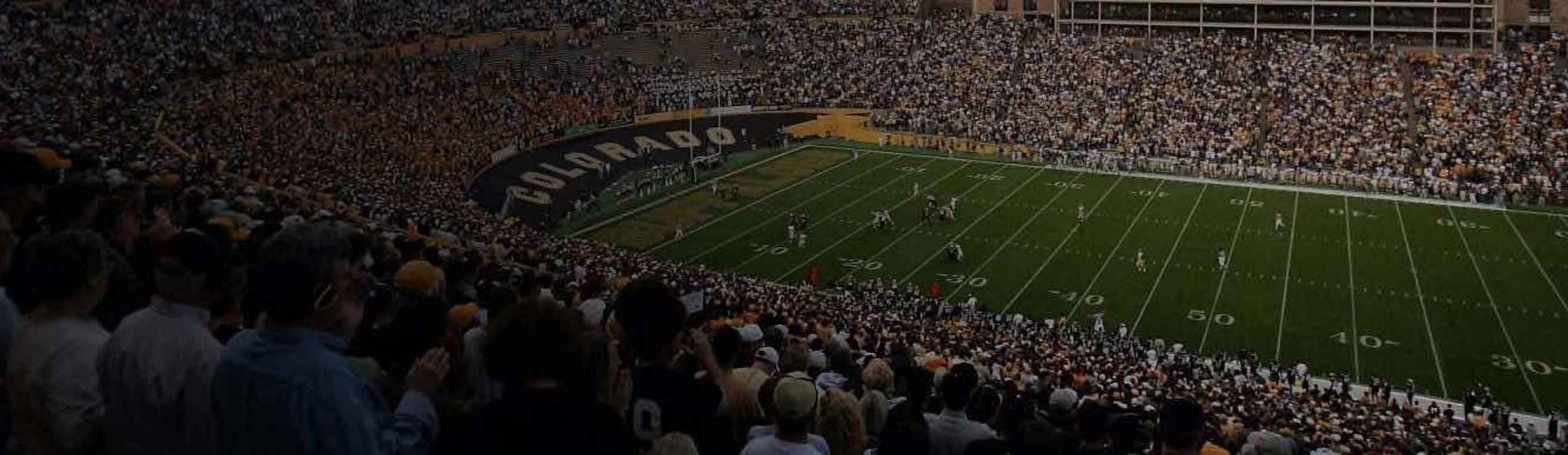 Buffaloes football team on game day at Folsom Field in Boulder, Colorado