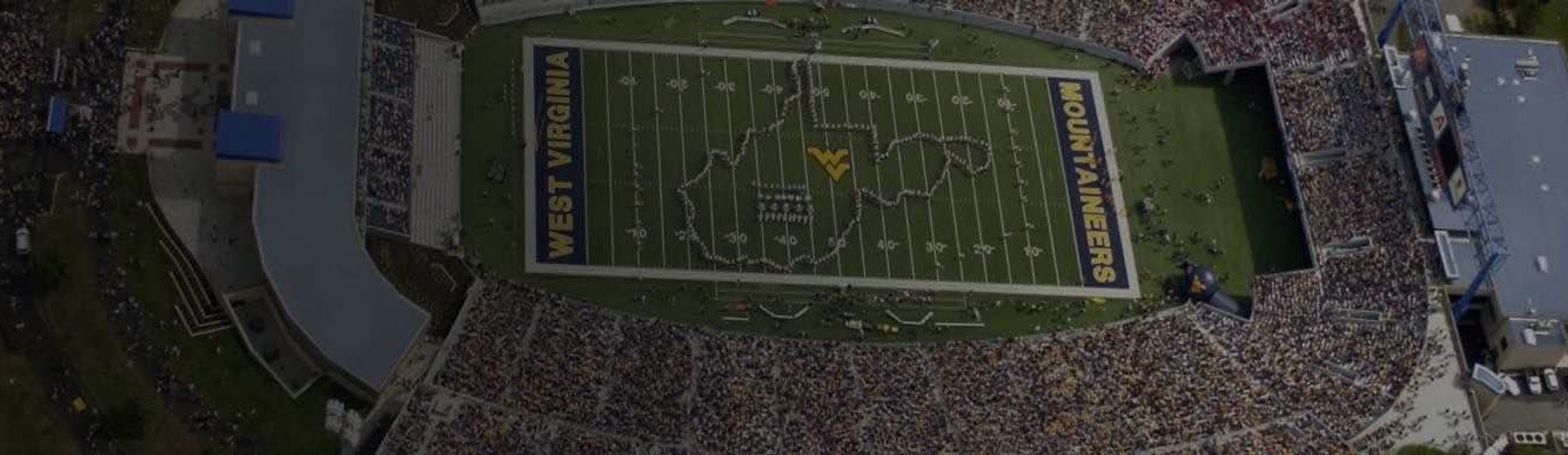 A packed Mountaineer Field on gameday in Morgantown, West Virginia
