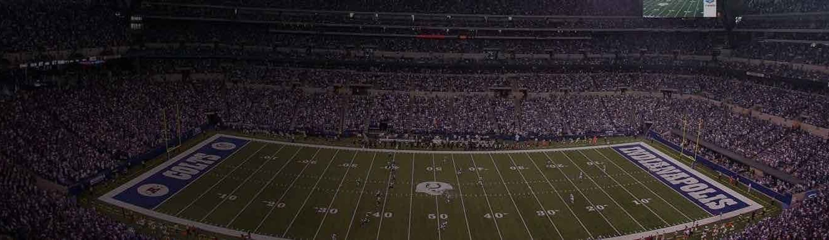 View of a packed Colts game at Lucas Oil Stadium in Indianapolis, Indiana