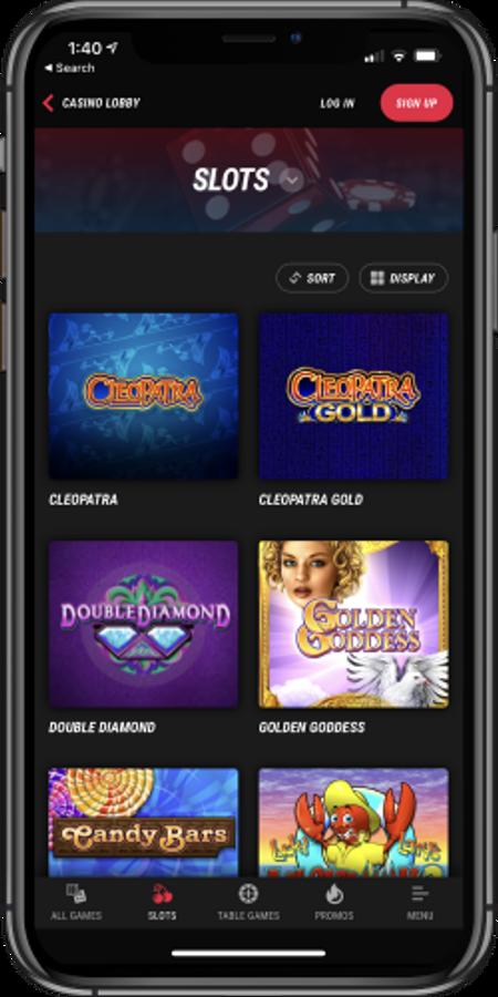 Mobile app screenshot of Pointsbet slots