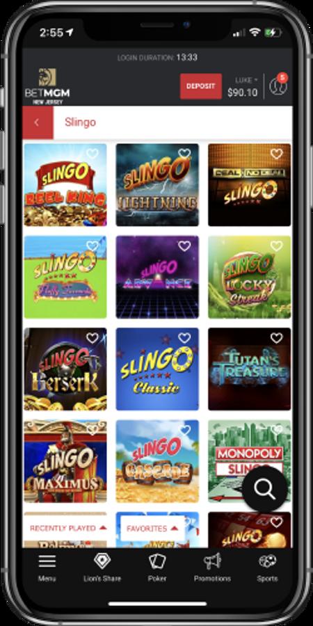 Slingo game choices in BetMGM mobile casino app