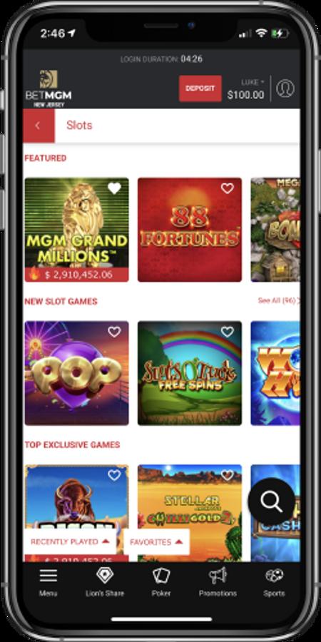 BetMGM Casino's slot offerings in its mobile app