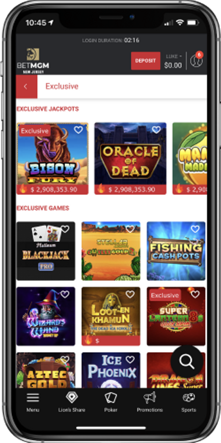 Exclusive games offered at BetMGM